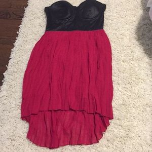 Red and black high low strapless dress